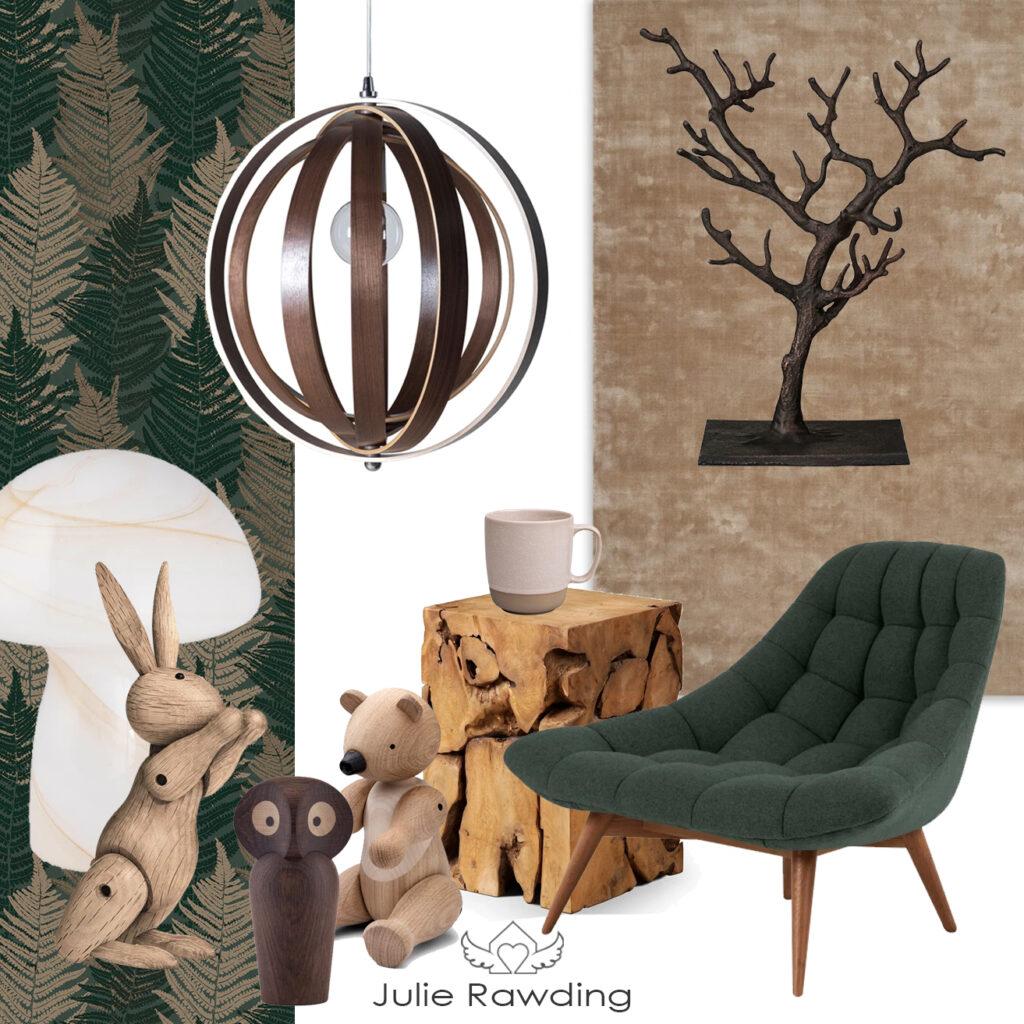 Green living room moodboard