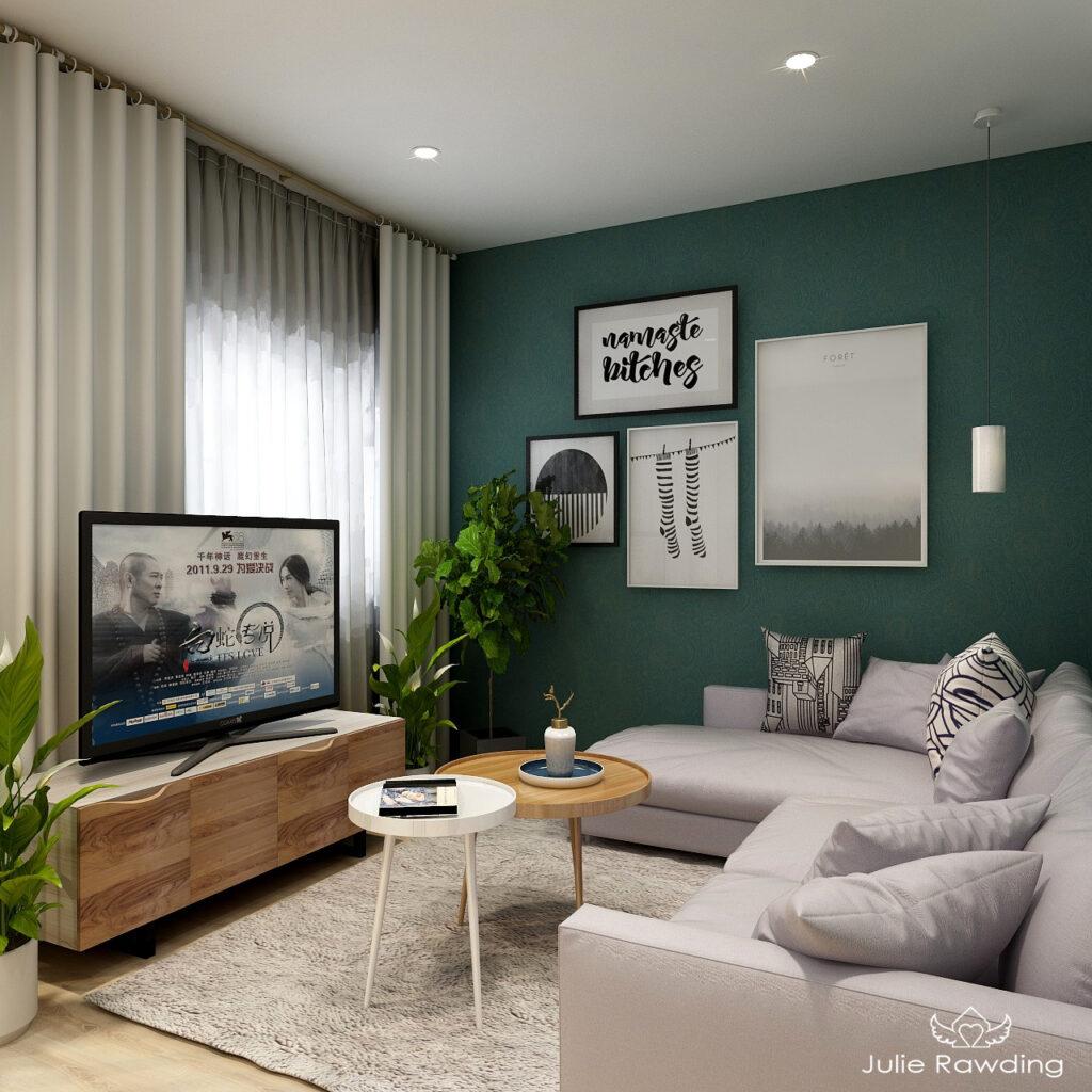 Green living room 3d render