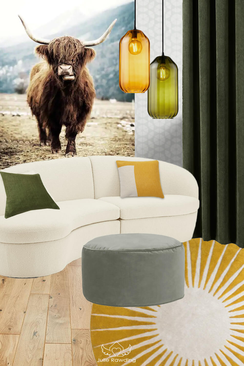 yellow and green colour scheme living room - Year of the Metal Ox