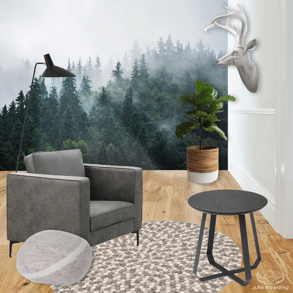 Forest themed living room - green colour theme concept board