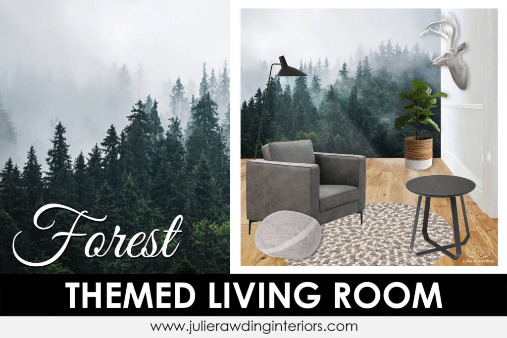 forest themed living room - green colours