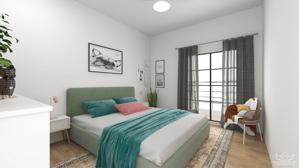 Scandinavian style bedroom - pink and green