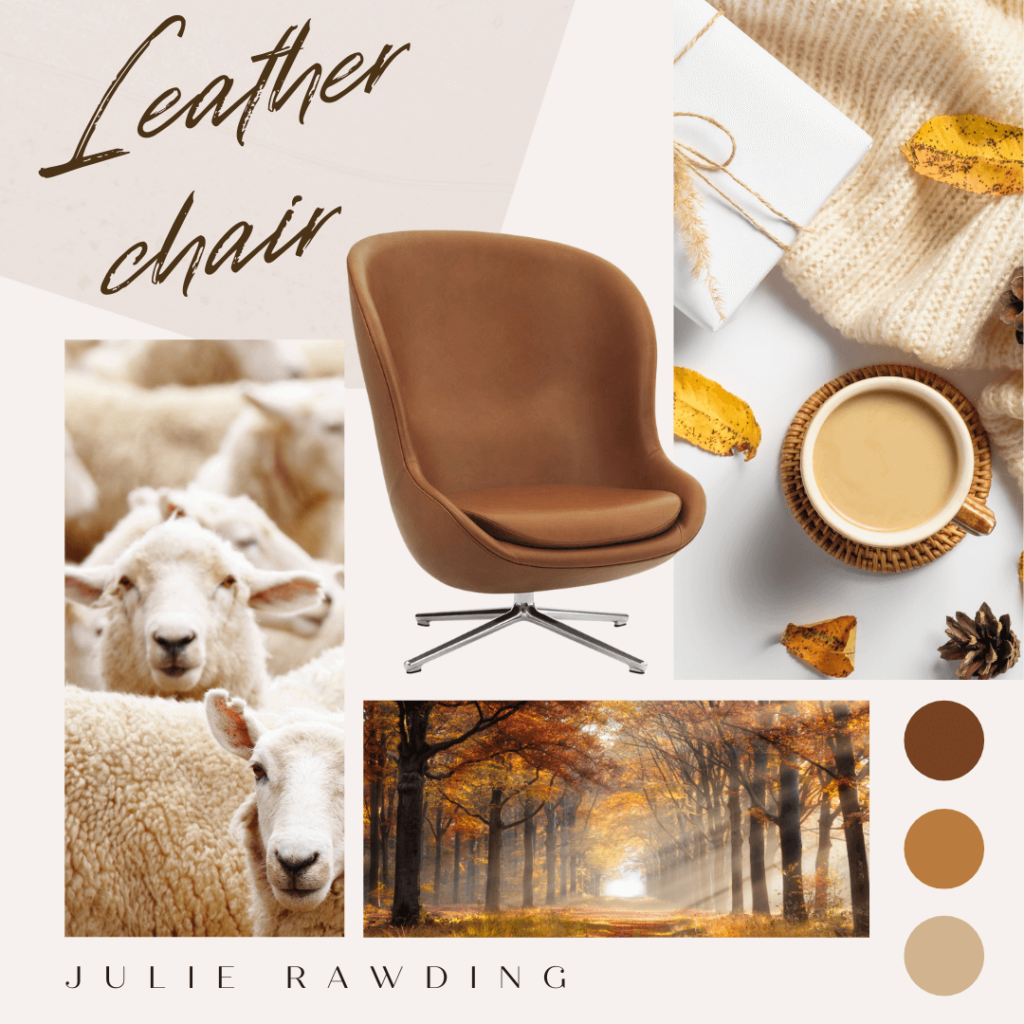moodboard leather chair - compromise over decorating