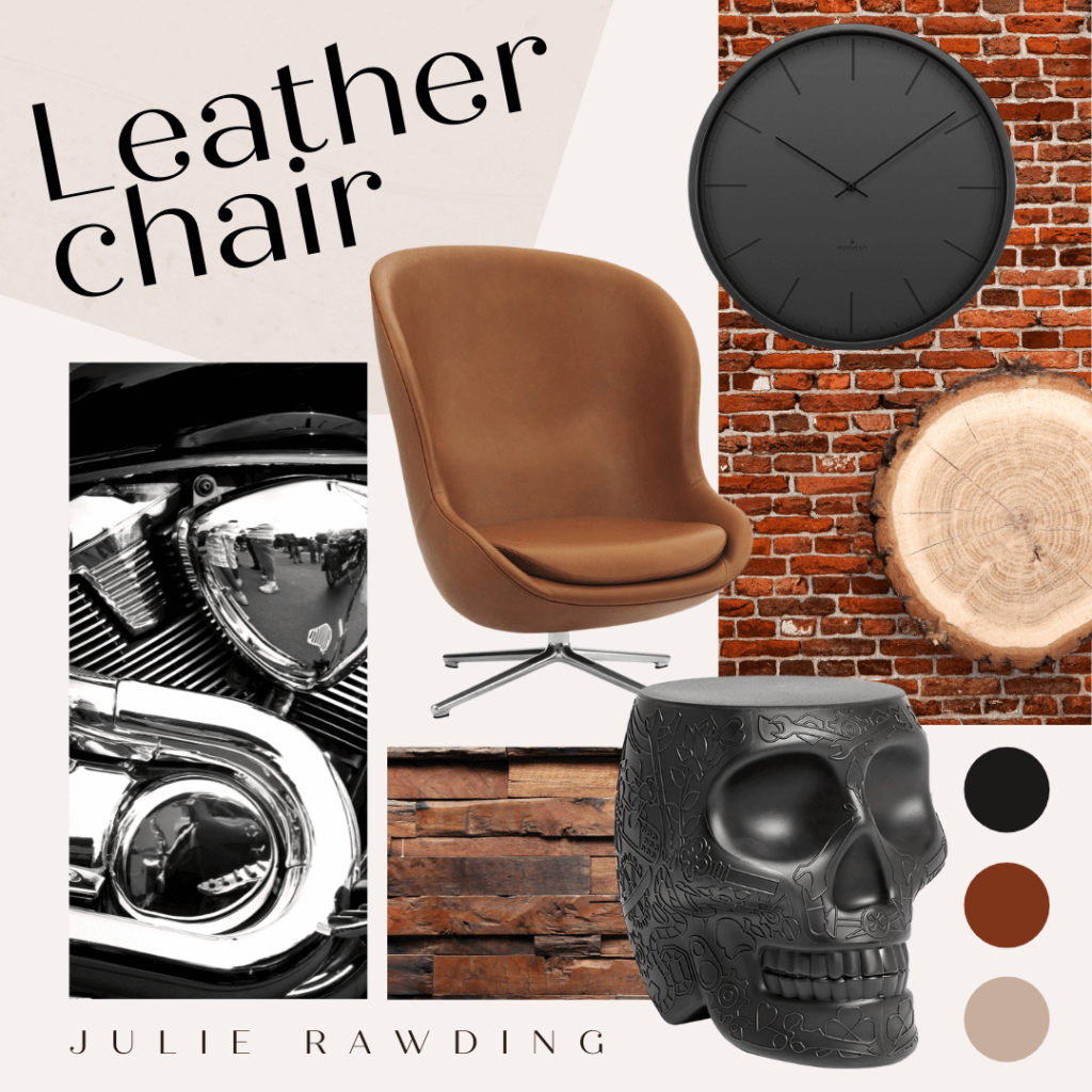 moodboard leather chair - compromise over decorating - industrial style