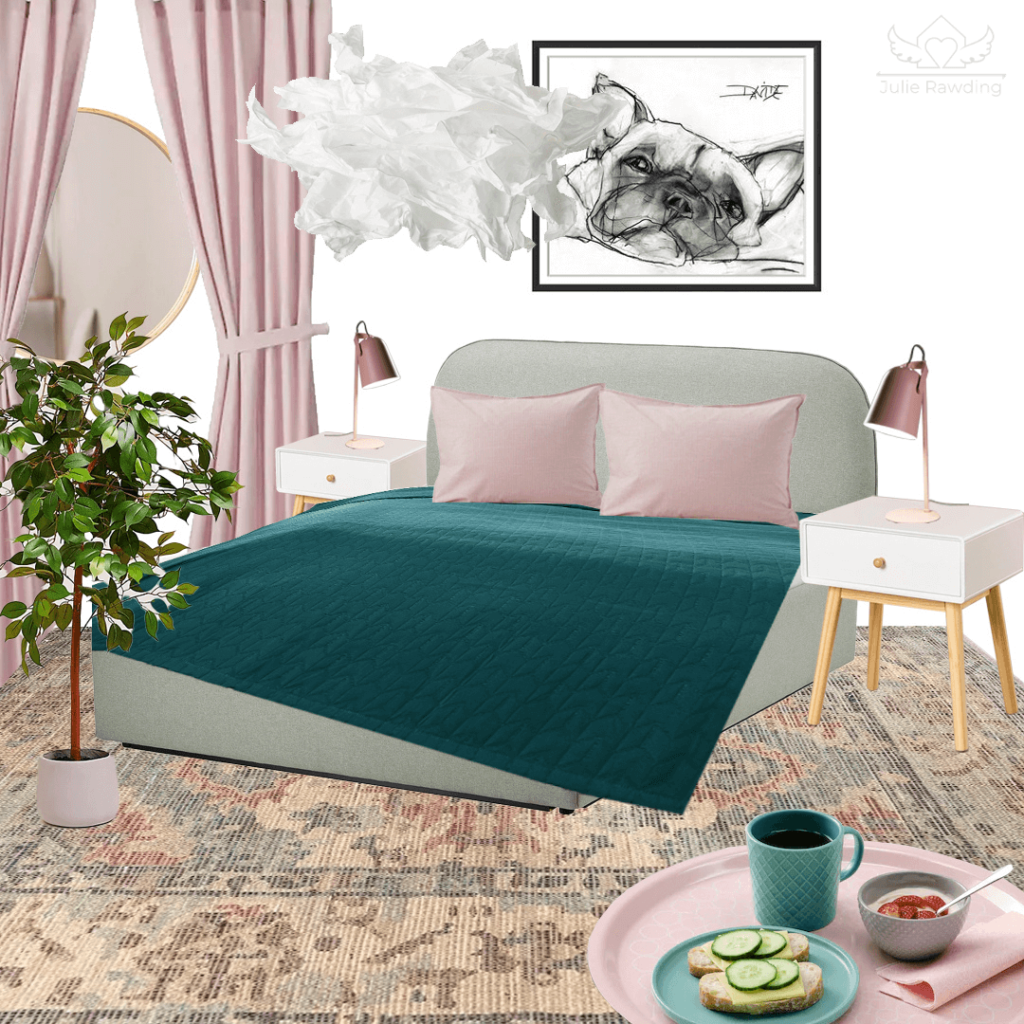 mood board bedroonm green and pink