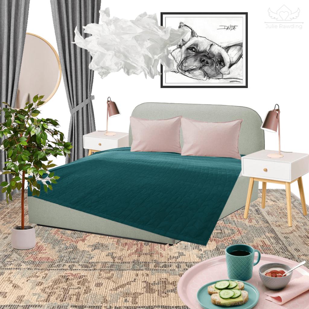 bedroom - mood board green and grey