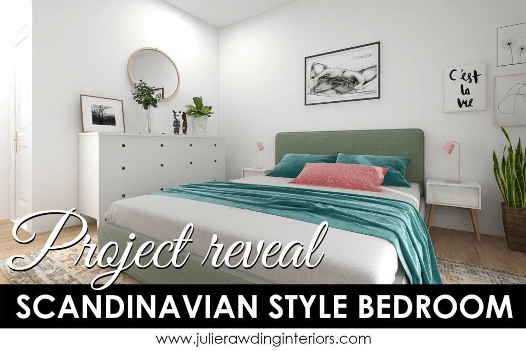 scandinavian style bedroom green and pink