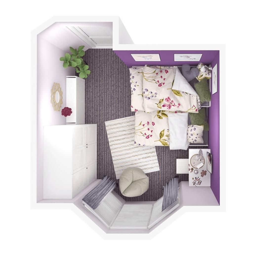 purple bedroom 3d design layout